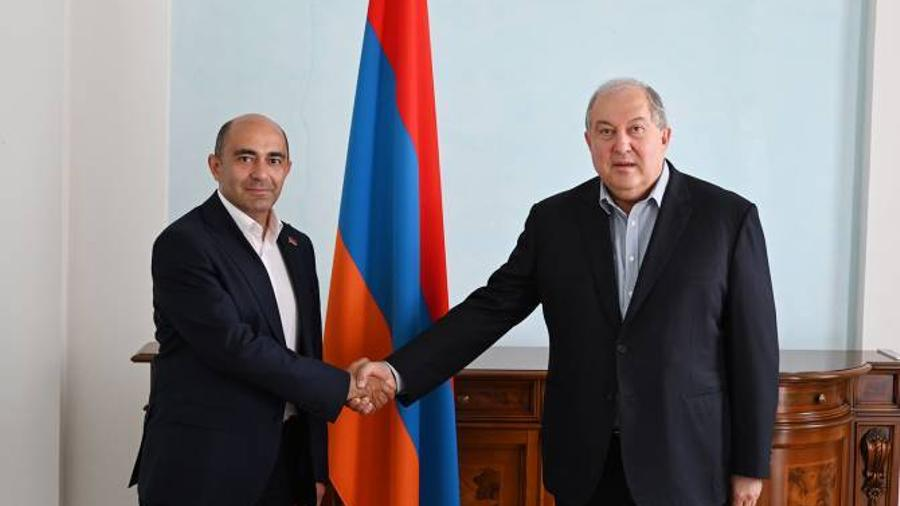 """President Sarkissian met with the leader of the """"Bright Armenia"""" party Edmon Marukyan"""