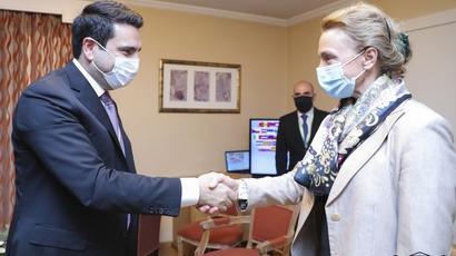 ԱԺ նախագահ Ալեն Սիմոնյանը հանդիպել է ԵԽ գլխավոր քարտուղար Մարիա Պեյչինովիչ-Բուրիչի հետ